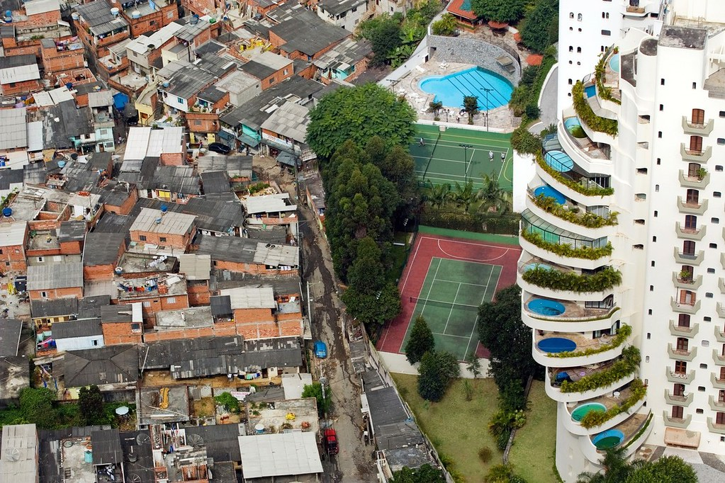 São Paulo, Brazil. 2008. The Paraisópolis favela (Paradise City shanty town) borders the affluent district of Morumbi.